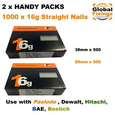 2 x Handy Packs 38mm + 50mm - MIXED 1000 16g STRAIGHT for Dewalt Paslode Nails