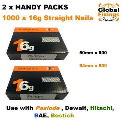 2 x Handy Packs 50mm + 63mm - MIXED 1000 16g STRAIGHT for Dewalt Paslode Nails