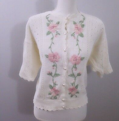 Lucia womens vintage cardigan size L ivory short sleeve rose embroidered