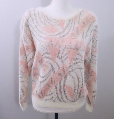 Cristina womens vintage sweater size L pink metallic embellishments
