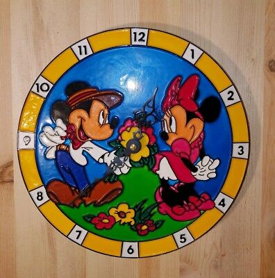 """Vintage MICKEY & MINNIE MOUSE  Wall Clock Moving Arms 9"""" DISNEY"""