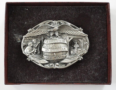 Vtg 1984 I'm Proud To Be An American Coal Miner Metal Mining Belt Buckle NEW