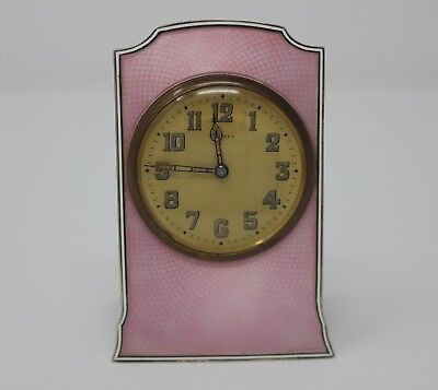 Antique Continental Silver and Pink Guilloche Enamel Travel Clock 1920