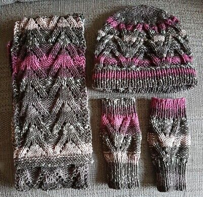 New Hand Knitted Lace Scarf, Hat & Fingerless Gloves Set - Pink/Grey