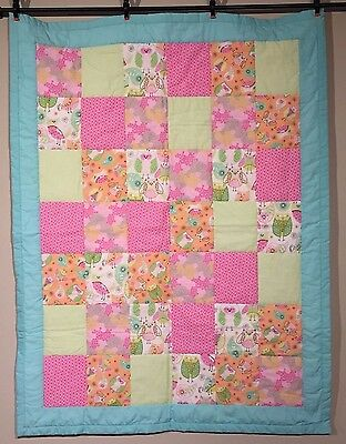Owl Pastel Colors Baby Quilt Baby Girls Handmade Pink Green Cotton Owls Flowers