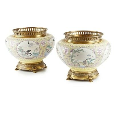 Magnificent Antique Large Pair Gilt Metal Mounted Ceramic Cachepots circa 1880