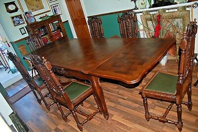 Draw Leaf Oak Antique French Dining Table Louis XV Style