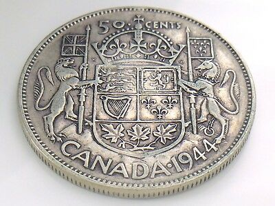 1944 Canada 50 Fifty Cent Half Dollar George VI Canadian Circulated Coin I280