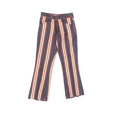 Vintage 70s Farah Navy Blue + Red High Waist Stripe Retro Bell Bottom Pants 10