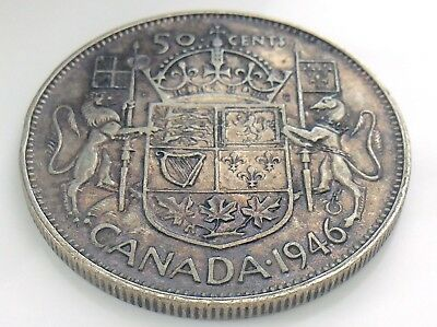 1946 Canada 50 Fifty Cent Half Dollar George VI Canadian Circulated Coin I283