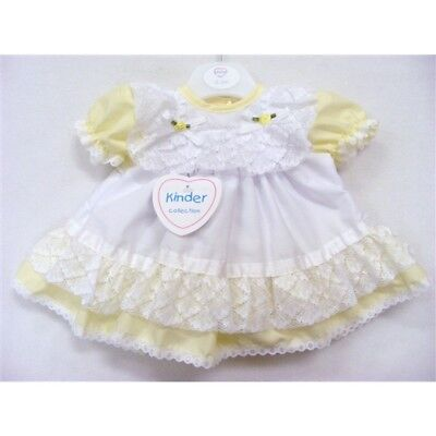 Kinder Baby Girls Traditional Romany Spanish Style Frilly Lemon & White Dress