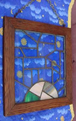 """Antique Arts & Crafts Stained Leaded Glass in Rustic Wooden Window 12""""x13"""""""