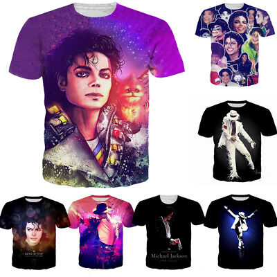 Michael Jackson 3D Print T-shirt Mens Womens Casual King Music Fashion Tee Tops