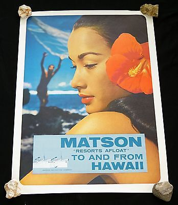 1960s Original Hawaii Matson Resorts Afloat to & from Hawaii Poster (Hol)#50