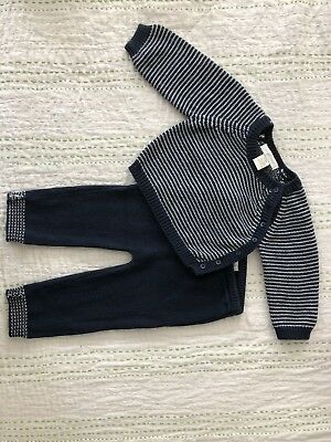Angel dear infant boys navy sweater and pant set size 3-6 Months
