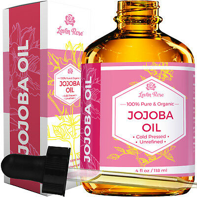 Jojoba Oil by Leven Rose - Pure, Cold Pressed, Unrefined - 4 oz