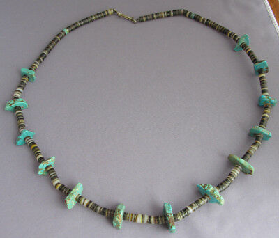 Vintage Chunky Long Old Pawn Heishi Mix Royston Turquoise Nugget Bead Necklace