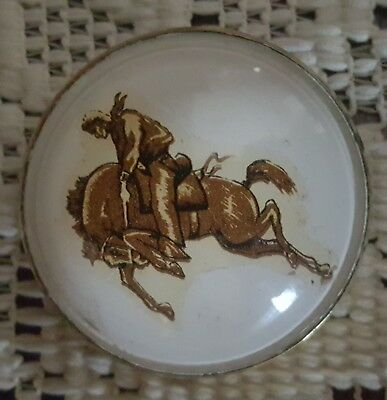 Vintage Glass Dome Horse Rosette Bridle Pin Bucking Bronco Cowboy Rodeo
