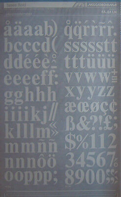 Mecanorma WHITE Transfers TIMES BOLD lowercase 23.5mm (#44.84 LN) NEW