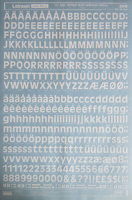 LETRASET White Transfers ANTIQUE OLIVE SEMI BOLD 42pt : 12.2mm (#3541) NEW