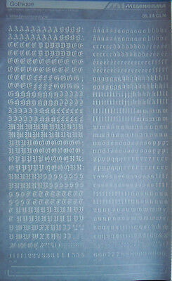 Mecanorma WHITE NUMBER Transfers GOTHIQUE 6.5mm (#81.24 CLN) NEW