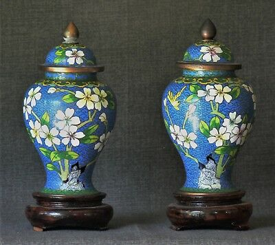 Vintage Pair Chinese Cloisonne Urns with Lids and Stands