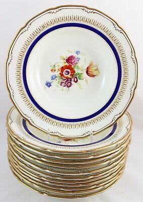 SET(s) 6 RIM SOUP BOWL ALLEN ROYAL DOULTON RA1492 ASCOT BLUE COBALT GOLD FLOWERS