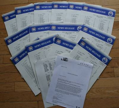 Very Rare Lot of 13 Edmonton Oilers 1991-92 News Release Packages  Home Games