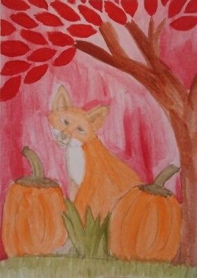 Fox In Autumn ACEO original watercolor painting pumpkin Fall tree leaf art card