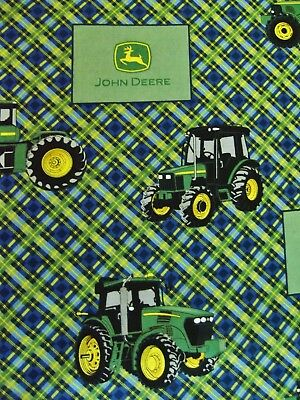 John Deere Tractor Logo Patchwork Plaid Pink Green Cotton Fabric Fq