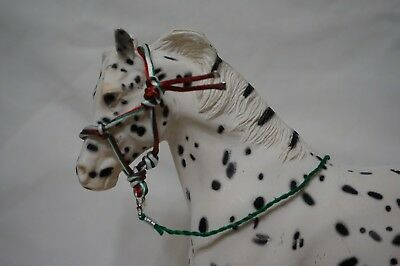"""Handmade Breyer Traditional Scale Model Horse Rope Halter with Lead, """"Christmas"""""""