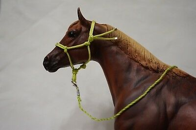 Handmade Breyer Traditional Scale Model Horse Rope Halter with Lead, Lime Green