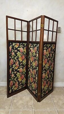 Antique Dr.'s Office Tri-fold Privacy Screen / Room Divider with Original Glass