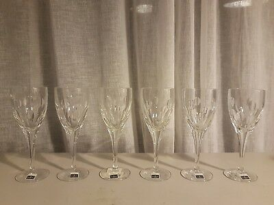 6 Large Waterford Crystal John Rocha Imprint Wine Glasses.