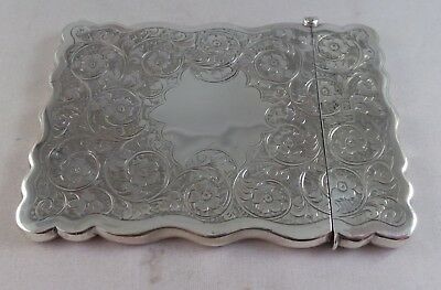 Very Nice Large Antique Sterling Silver Card Case Birmingham 1901