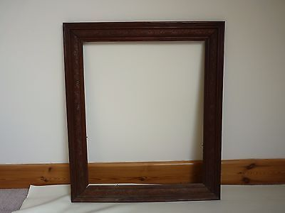 Original Antique Vintage old large carved wood Frame 4 painting / Family picture