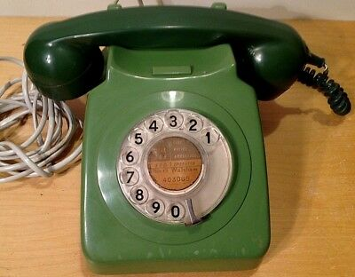 Vintage Retro BT GPO 746F Rotary Dial Green Telephone - Converted and Works