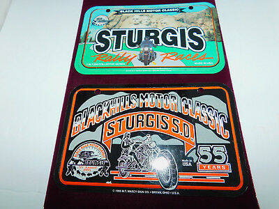 2 Sturgis Motorcycle Rally License Plate Tags 1994 1995 Collectible FREE SHIP