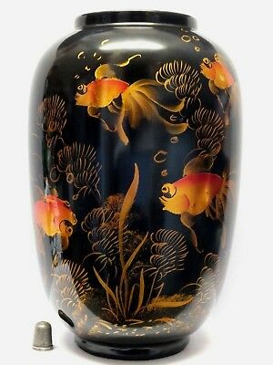 Contemporary Japanese Lacquer Style Vase with Fancy Goldfish in Foil Decoration