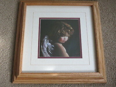 """EXCELLENT 7"""" Angel Looking Down by Nancy Noel matted + in heavy wooden frame 15"""""""
