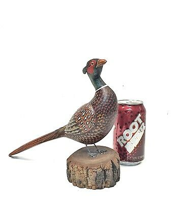 """1980's Andy Shade Wood Carved Lrg 12.75"""" Ringneck Rooster Pheasant wooden decoy"""