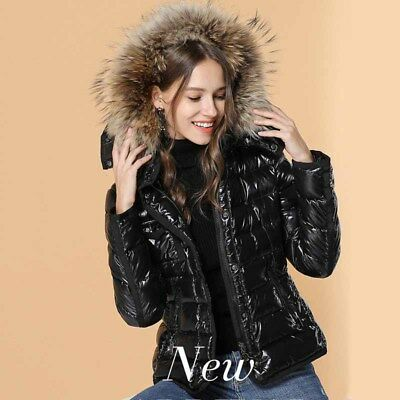 Winter Women's Down Jacket Belt Hooded Slim Fit Cotton Coat Faux Fur Outerwear
