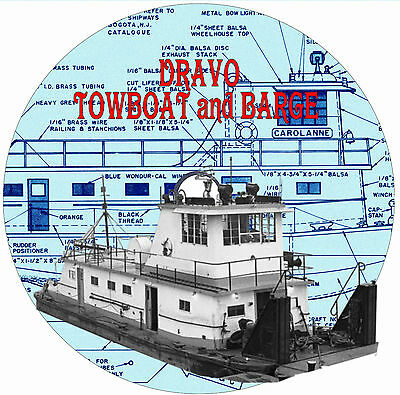 "Model Boat PLAN 35 1/2"" Dravo Towboat 36"" Barge Radio Control Plan & Notes on CD"
