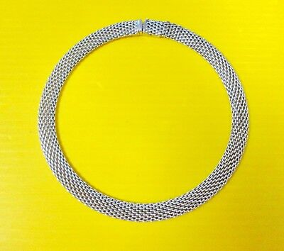 """Tiffany & Co 925 Sterling Silver heavy wide Somerset Mesh Necklace 17""""  ladies"""