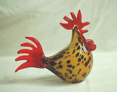 Murano Style Italian Hand Blown Art Glass Speckled Rooster Figurine Country Farm