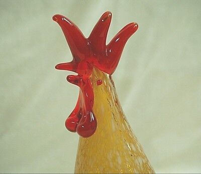 Murano Style Italian Hand Blown Art Glass Speckled Rooster Country Farm Figurine
