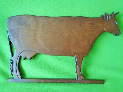 "Vintage Antique 18"" x 12"" WOOD Dairy Farm COW Sign~Primitive Folk Art Handmade"