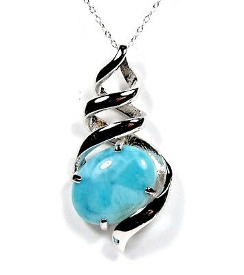 """Rare Genuine AAA Dominican Larimar 925 Sterling Silver 18"""" Necklace with Pendant"""