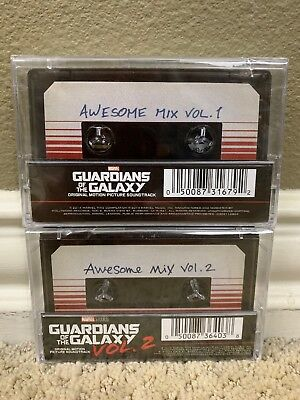 SEALED Guardians of the Galaxy: Awesome Mix Vol. 1 & 2 Cassette Marvel Both NEW
