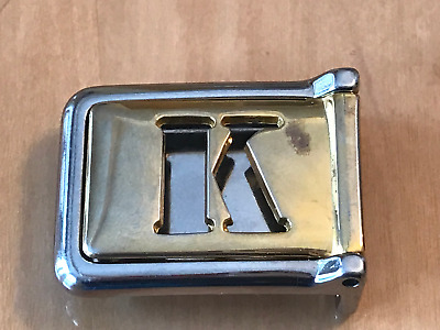 """Vintage Rare Initial Silver Gold Belt Buckle Letter """"K"""" Made In Italy"""